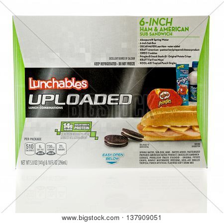 Winneconnie WI - 10 July 2016: Package of Lunchables with ham and american sub sandwich combination on an isolated background.