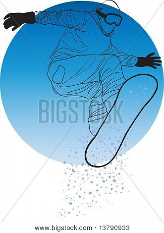 Vector illustration of snowboarder jumping