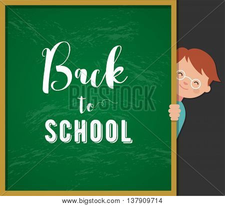 back to school - education, creativity and science concept illustration, poster with boy