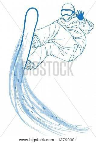 Vector illustration of blue outline of snowboard freerider