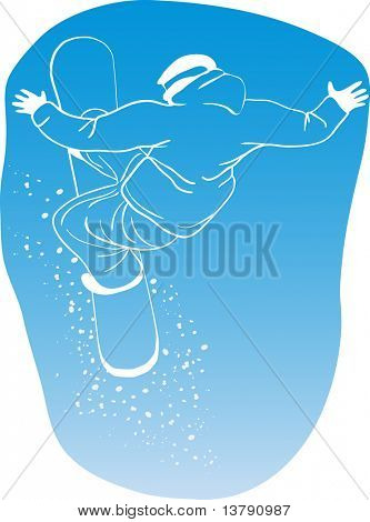 Vector illustration of snowboard freerider flying on a blue background