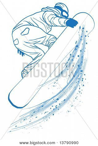 Vector illustration of blue outline of   athlete touching her snowboard