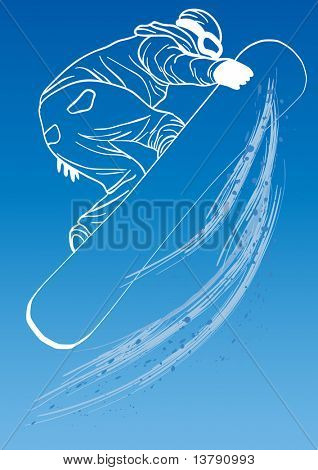 Vector illustration of athlete with snowboard flying on a blue background