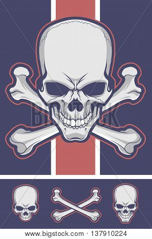 Crossbones Vector Stock with Optional Skull and Femurs