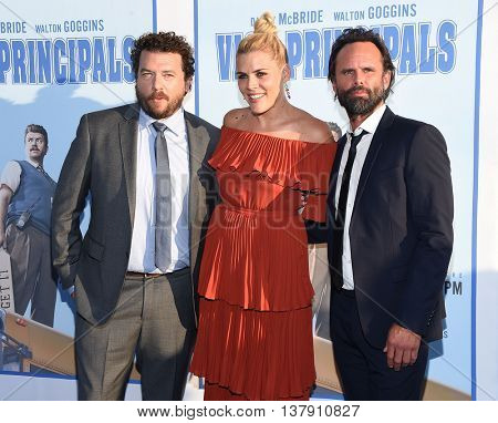 LOS ANGELES - JUL 7:  Danny McBride, Busy Phillips & Walton Goggins arrives to HBO's 'Vice Principals' Premiere on July 07, 2016 in Hollywood, CA.