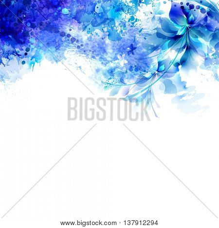 Abstract background with blue composition of watercolor blots and floral element.