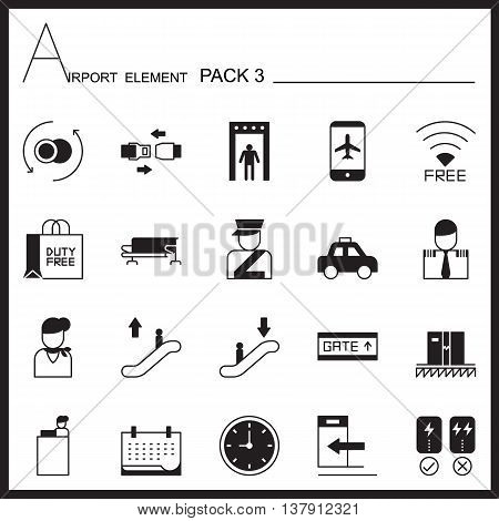 Airport Element Graph Icon Set.Pack 3.Mono pack.Graphic vector logo set