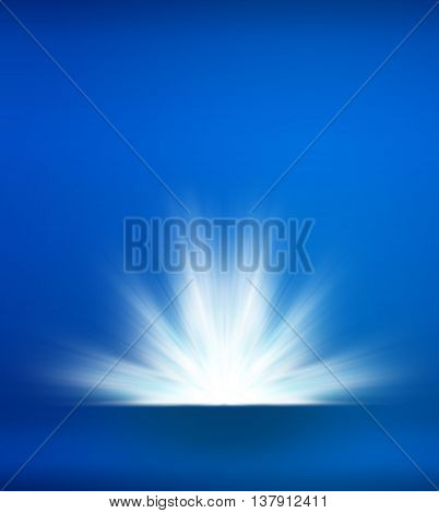 Abstract Blue Background With Light Ray Explosion, Template Mock Up For Place Your Product In Front