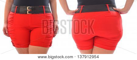 Front and back photo of XXL woman red short pants with black belt on plus size model isolated on white