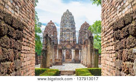 stupa in Sukhothai historical park world heritage Thailand