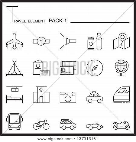 Travel Element Line Icon Set.Pack 1.Mono pack.Graphic vector logo set.Pictogram design.