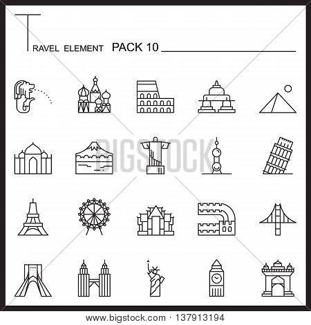 Travel Element Line Icon Set 10.Landmark thin icons.Mono pack.Graphic vector logo set.Pictogram design.