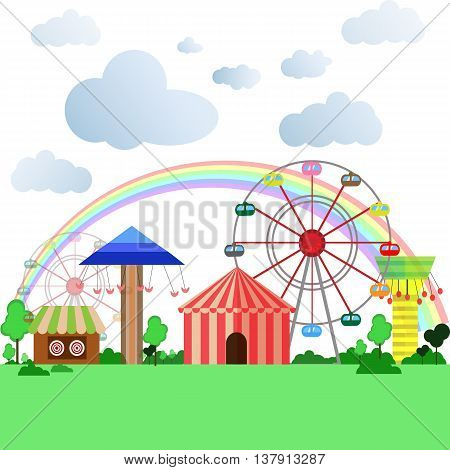 park, flat, vector, cartoon, outdoor, background, play, party, playground, exciting