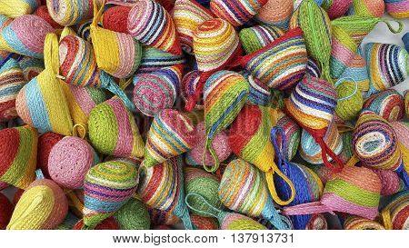 Wallet weave make from colorful of sisal Beautiful product bag Handmade in country from Thailand lay piled on the floor