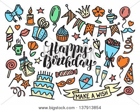 Colorful happy birthday party lettering and doodle set, vector illustration isolated on white background. Funny set of sketch birthday party objects