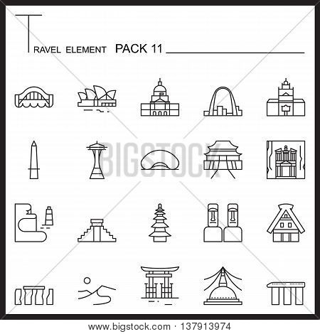 Travel Element Line Icon Set 11.Landmark thin icons.Mono pack.Graphic vector logo set.Pictogram design.