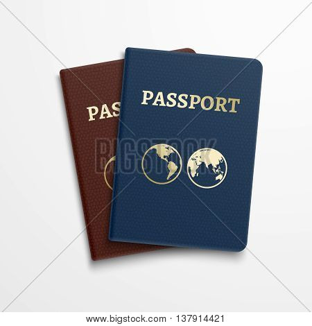 Passports international identification document. Vector travelling concept. Passport for identification person and illustration passport document for journey and vacation