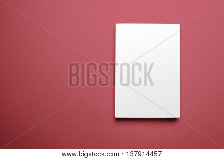 Blank magazine cover template isolated on red background with clipping path ready for your artwork