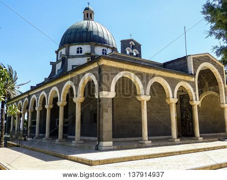 SEA OF GALILEE ISRAEL - OCTOBER 20: Church of Mount of Beatitudes with marble colonnade at the Sea of Galilee near Tabgha and Capernaum in Israel on October 20 2015