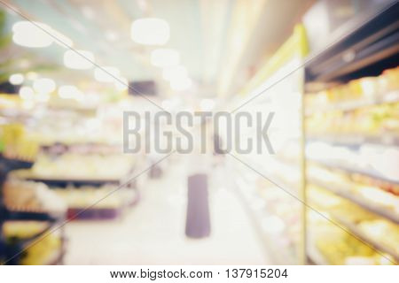 Blurred Abstract Background Of People Shopping In Supermarket With Miscellaneous Product On Shelves