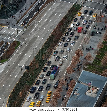Traffic jam in New York City road ariel viev