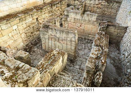 Ancient ruins of the Treasury in Chersonesus Taurica. Sevastopol, Crimea. Russia