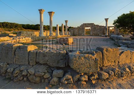 Ancient Greek basilica and marble columns in Chersonesus Taurica. Sevastopol, Crimea. Russia