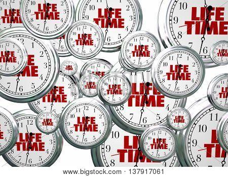 Lifetime Span Live Expectancy Clocks Flying 3d Illustration