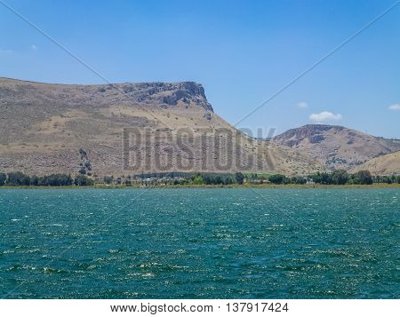 View of Mount Arbel and Mount Nitai from the Sea of Galilee Lower Galilee near Tiberias in Israel