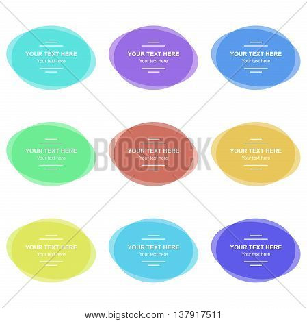 Set of vector colorful oval banners. Abstract vector shapes for design with sample text