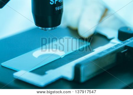 Medical Equipment. Microscope,in A Laboratory Microscope With Microscope Slide,science Concept,scien