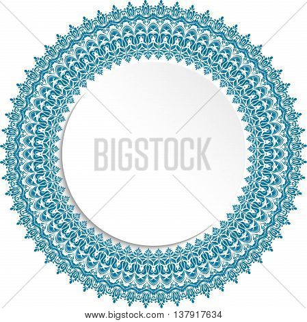 Nice vector blue frame with floral elements and arabesques. Fine greeting card