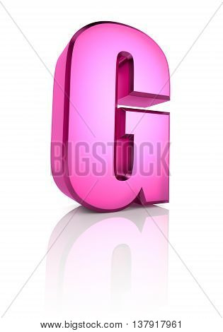 Pink letter G isolated on white background. 3d rendering