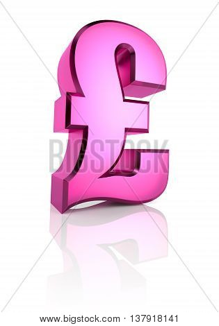 Pink pound currency symbol isolated on white background. 3d rendering