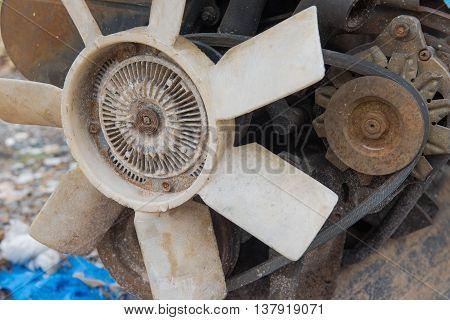 Rusty old dirty  car  engine crash repairs. in workshop