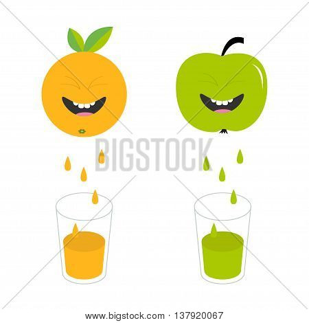 Fresh juice and glasses. Apple orange fruit with faces. Smiling cute cartoon character set. Natural product. Juicing drops. Flat design. White background. Isolated. Vector illustration