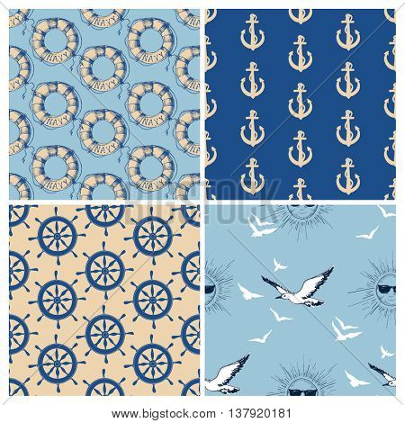 Marine seamless patterns vector collection. Sea and ocean retro navy backgrounds