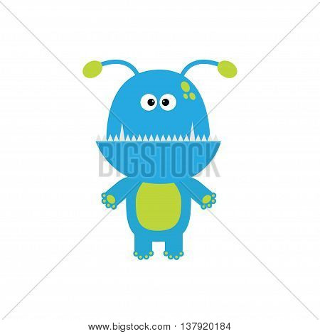 Funny monster with fang tooth and horns. Cute cartoon character. Blue color. Baby collection. Isolated. Happy Halloween card. Flat design. Vector illustration.