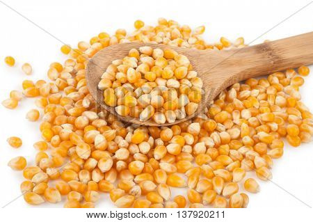 Corn seeds with wooden spoon