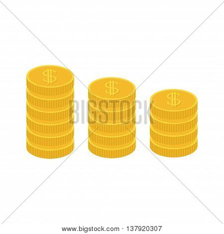 Gold coin stacks icon in shape of diagram. Dollar sign symbol. Cash money. Growing business concept. Going down graph. Income and profits. Flat design. White background. Isolated. Vector illustration