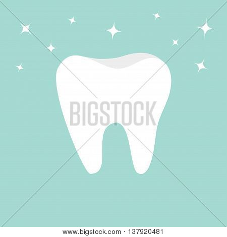 Tooth icon. Healthy tooth. Oral dental hygiene. Children teeth care. Shining effect stars. Tooth health. Blue background. Flat design. Vector illustration