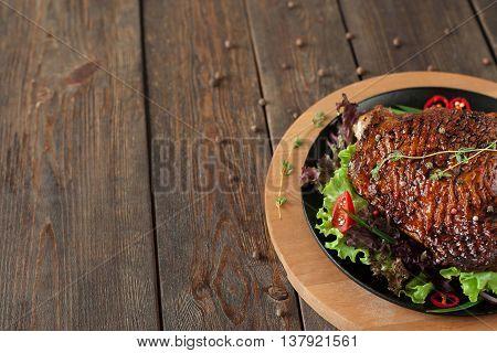 Food Duck Bbq Wood Restaurant Menu Copyspace Poultry Meat Commercials Celebrations Concept