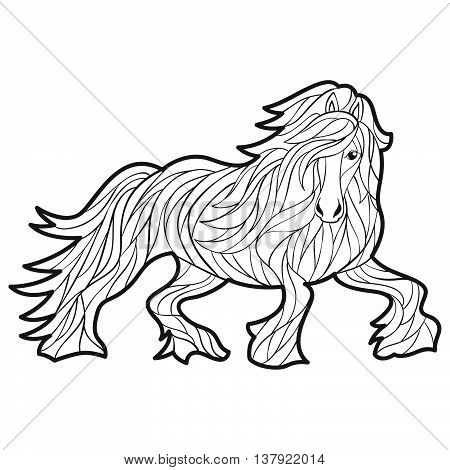 Vector monochrome hand drawn illustration of horse. Coloring page with high details isolated on white background. Boho style. Design for T-shirt greeting card or poster.