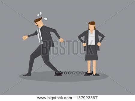 Businessman with leg chained to woman trying to escape. Humorous conceptual vector illustration for business relationships isolated on grey background.
