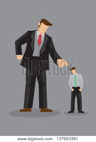 Giant cartoon man in angry gesture and pointing index finger at smaller sized man with head hang low. Creative vector illustration for being scolded at work concept isolated on grey background.