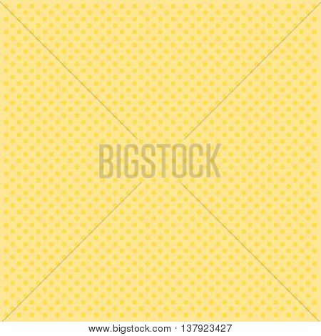 Vector pattern with polka dots on yellow background