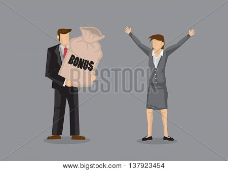 Cartoon man presenting a big sack with title Bonus to delighted woman executive with welcoming open arms gesture. Vector illustration on work incentives concept isolated on grey background.