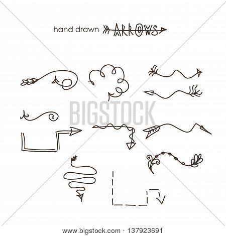 Hand drawn arrow set vector illustration graphic