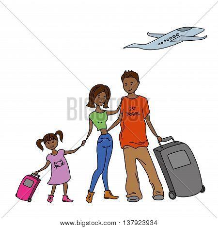 Family travel desing on white background vector illustration