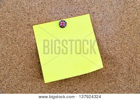 Blank Yellow Paper Note Pinned With Great Britain Flag Thumbtack
